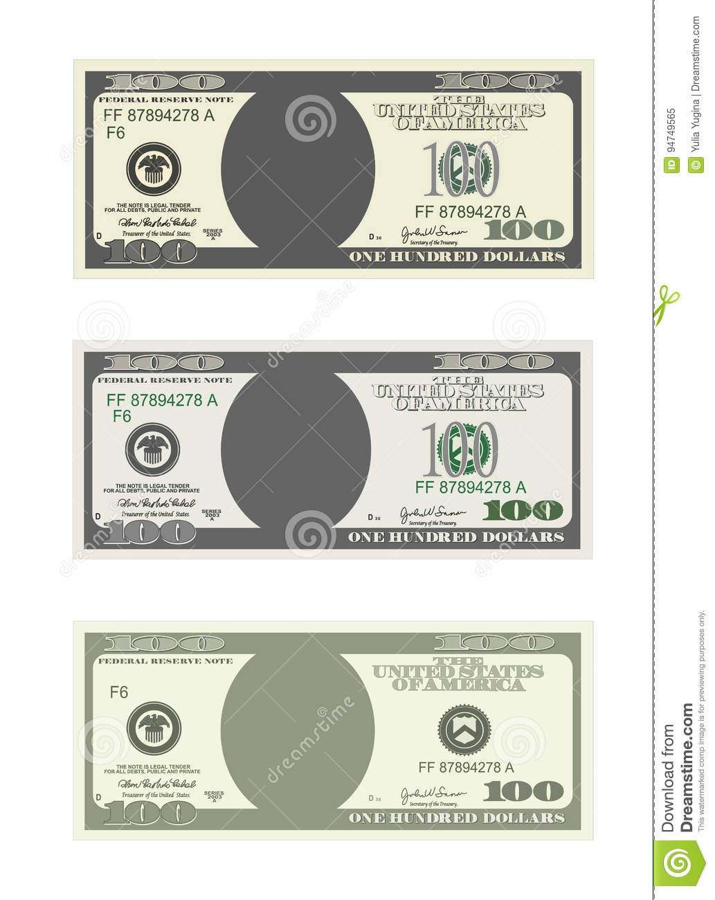 100 Dollar Bill Template