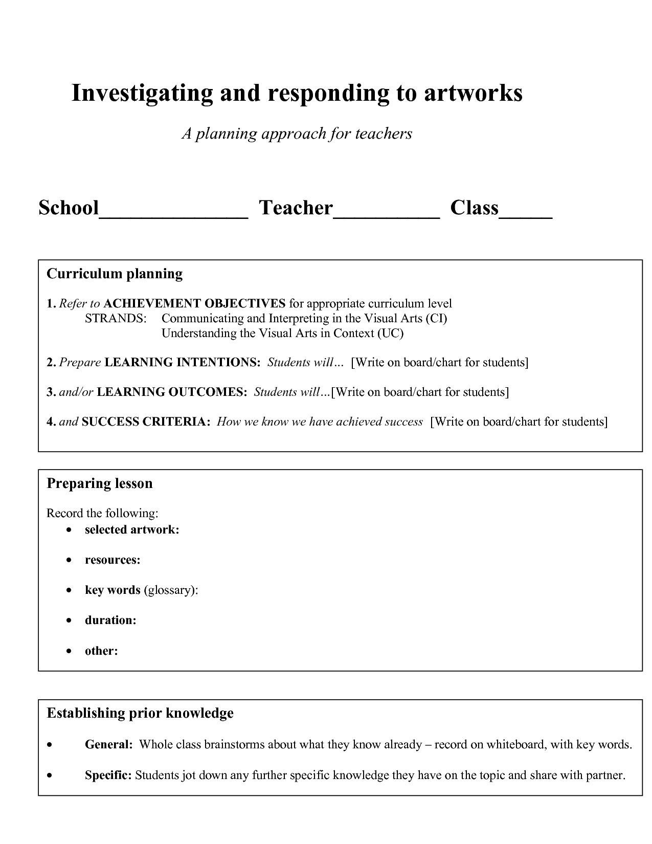 Art Lesson Plan Template
