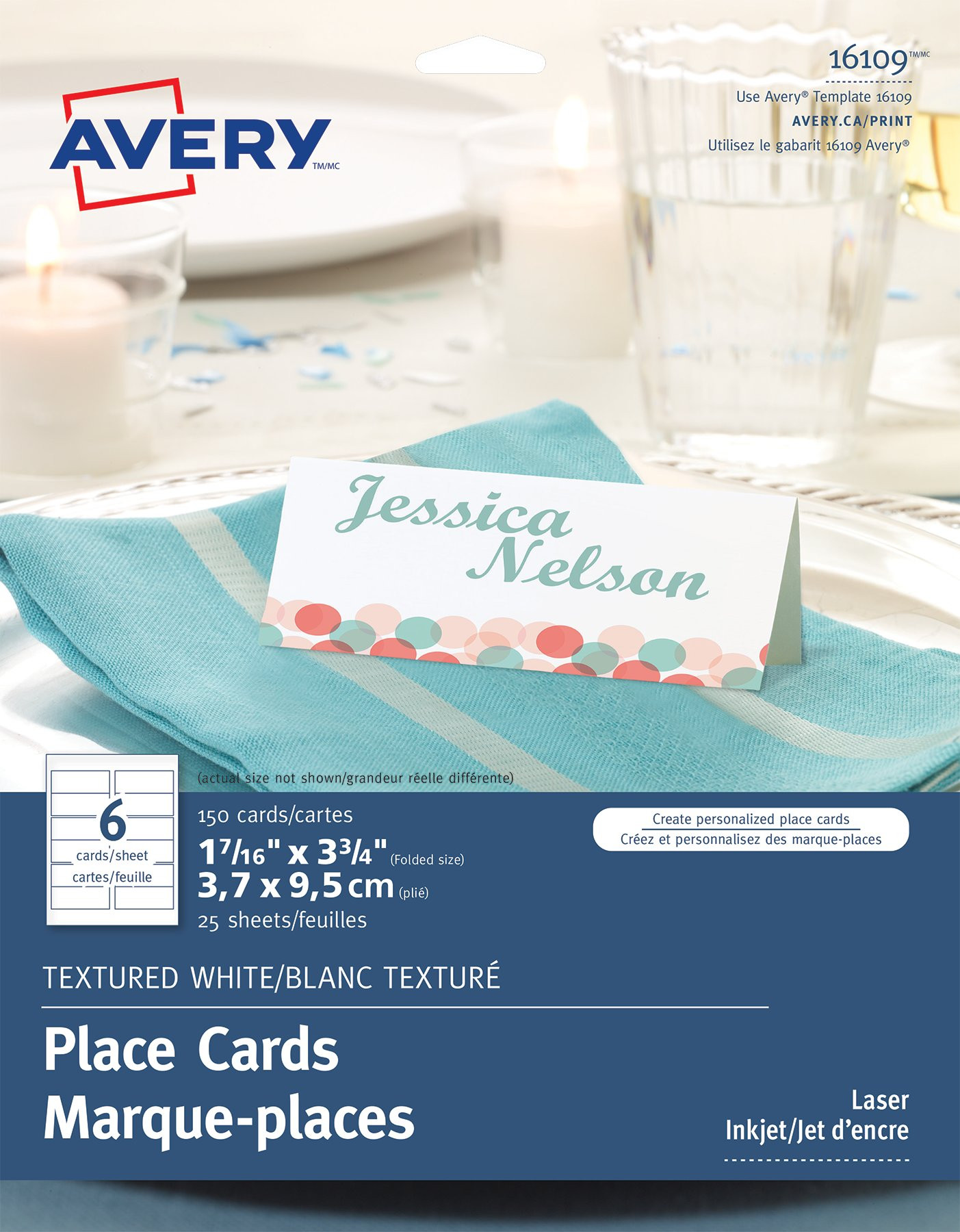 "Avery Textured Place Cards 1 7 16"" x 3 3 4"" White"