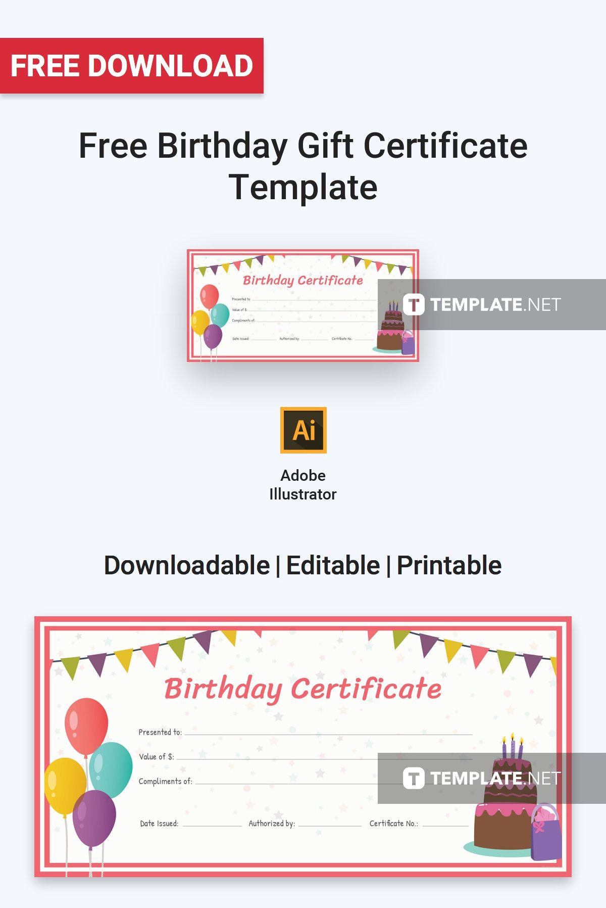 Birthday Gift Certificate Template
