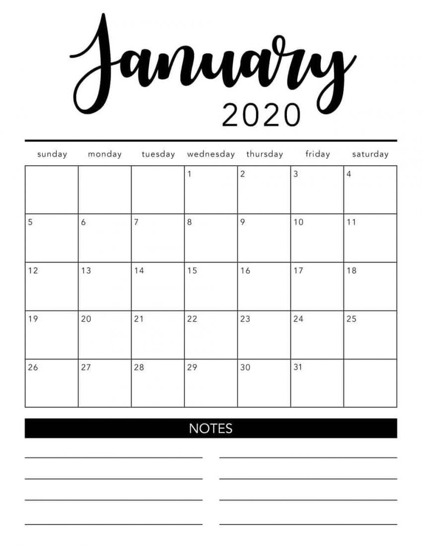 2020 Monthly Calendar Printable Free in 2020