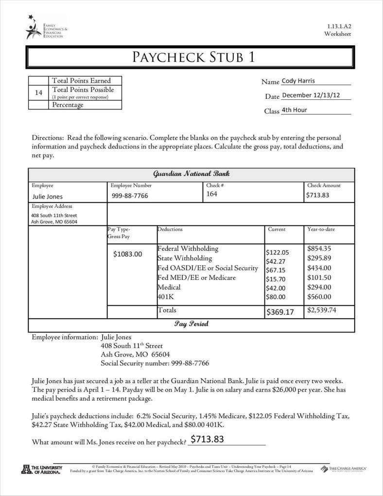 Blank Pay Stubs Template