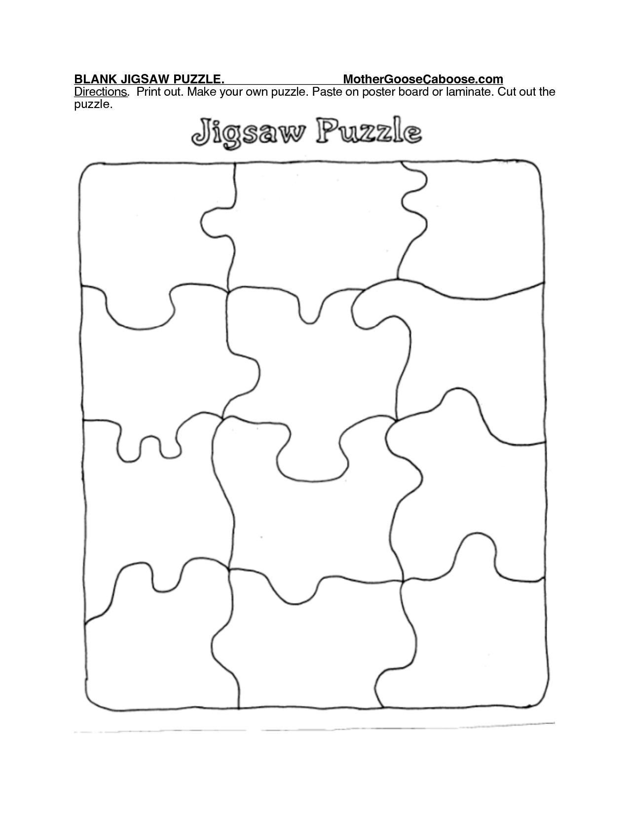 Blank Puzzle Pieces Template