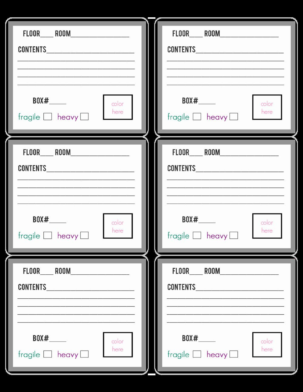 Breaker Box Label Template