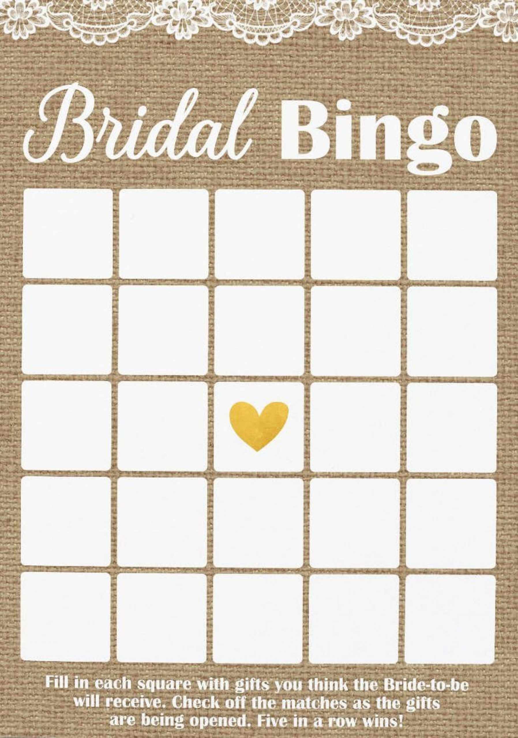 Bridal Shower Bingo Template
