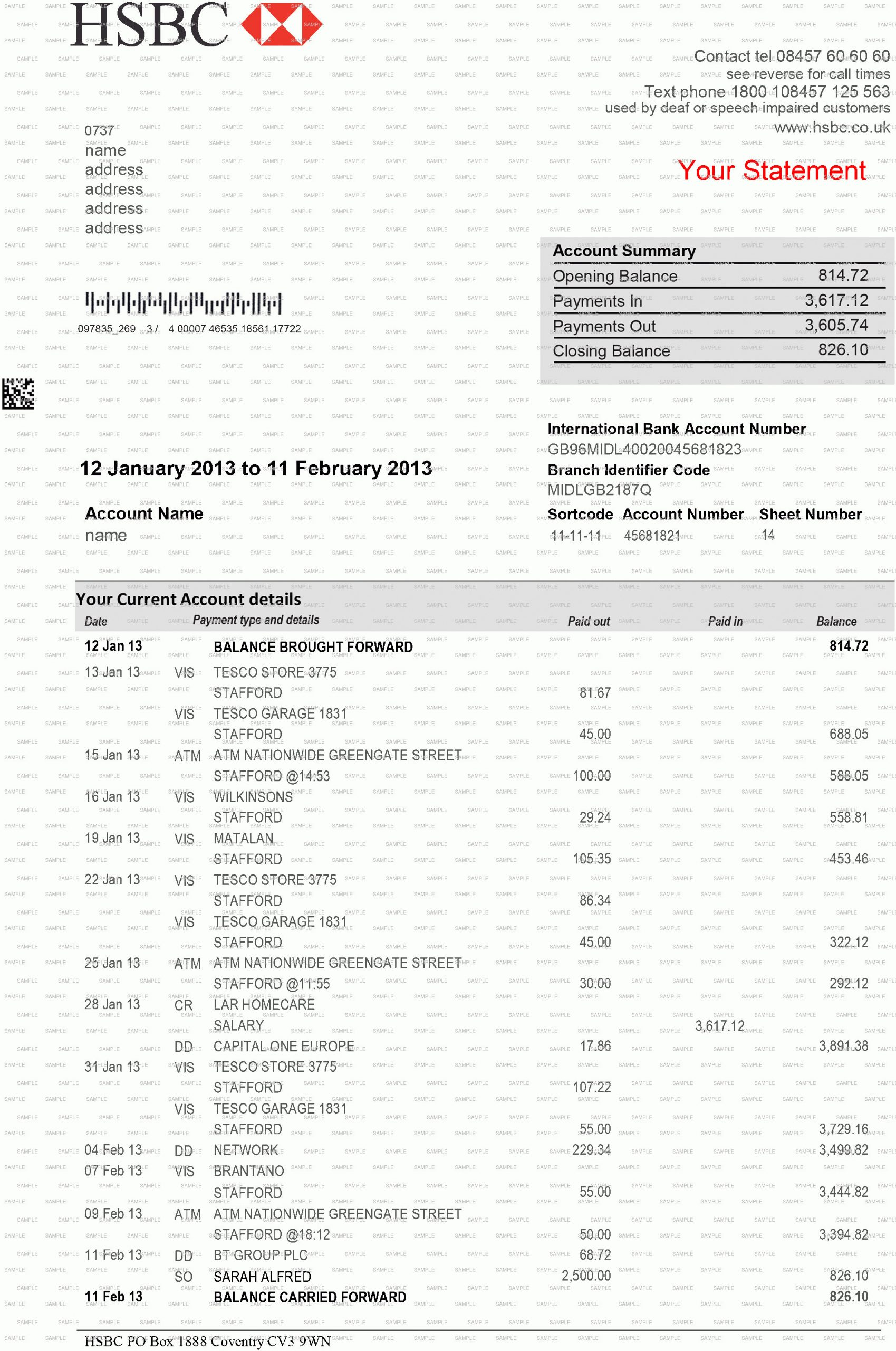 Chase Bank Statement Template
