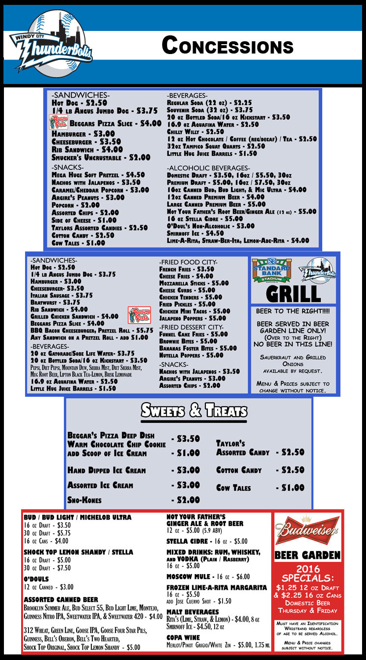 Concession Stand Menu Template