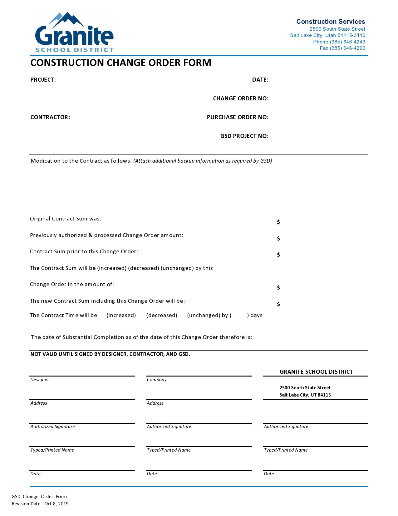 Construction Change order Template