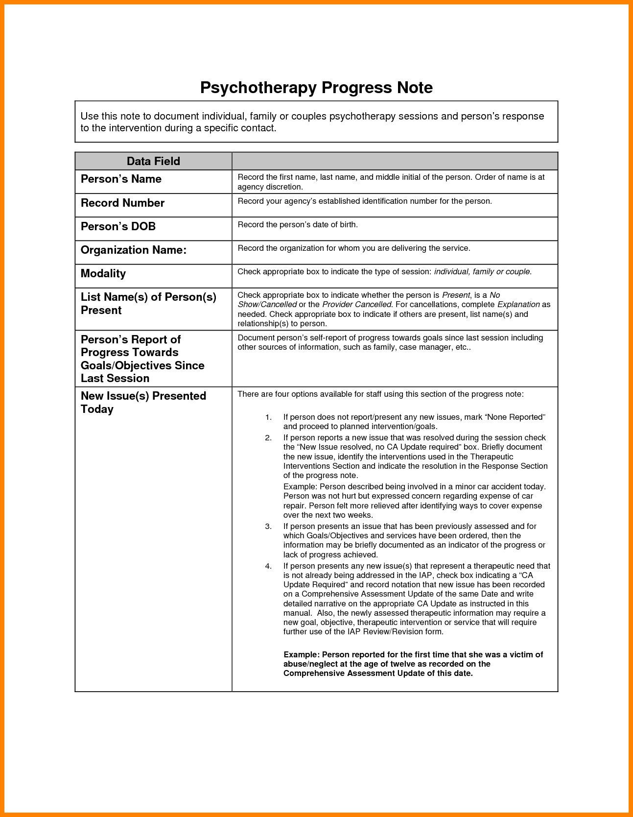 Counseling Progress Notes Template