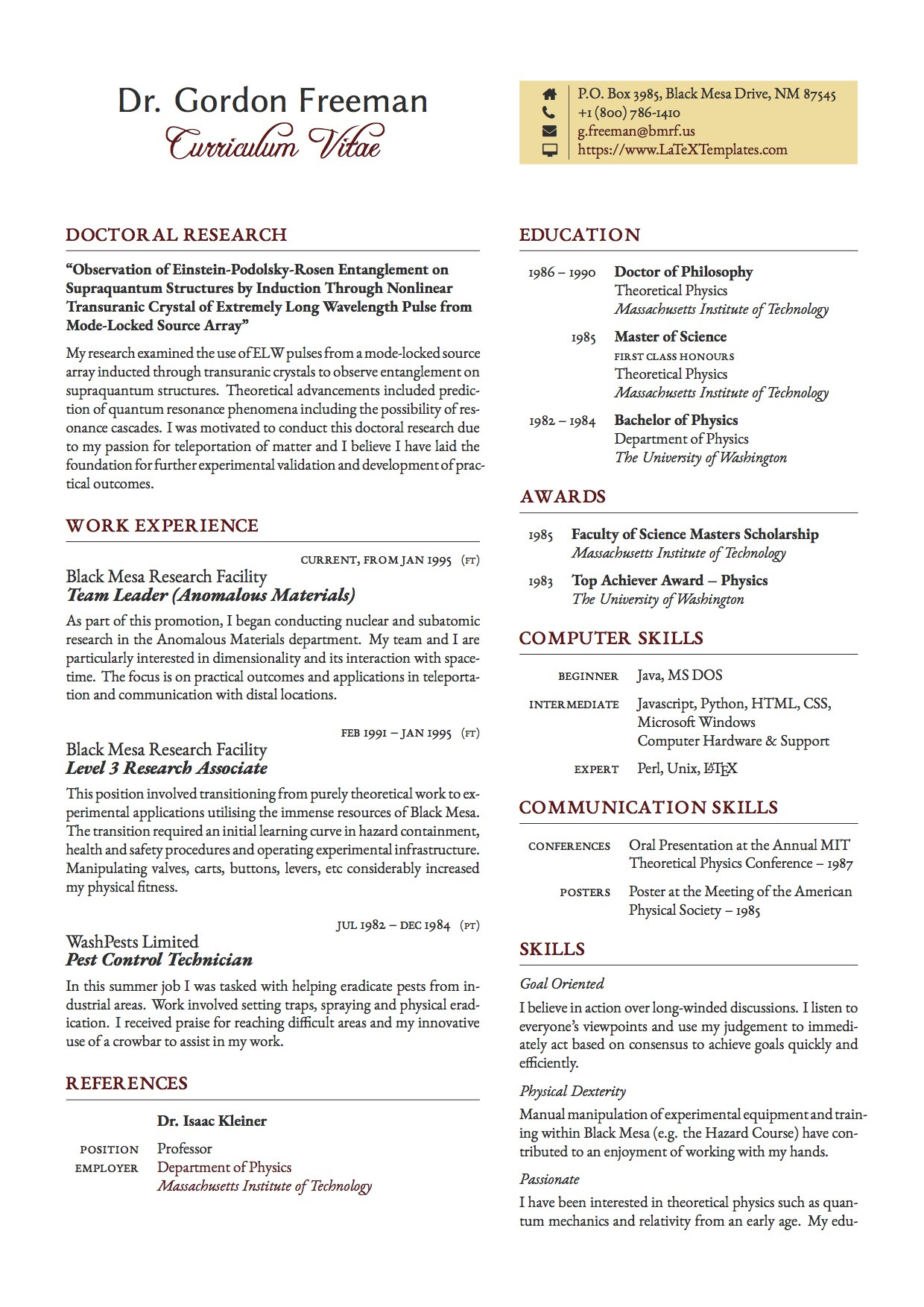 Cover Letter Latex Template