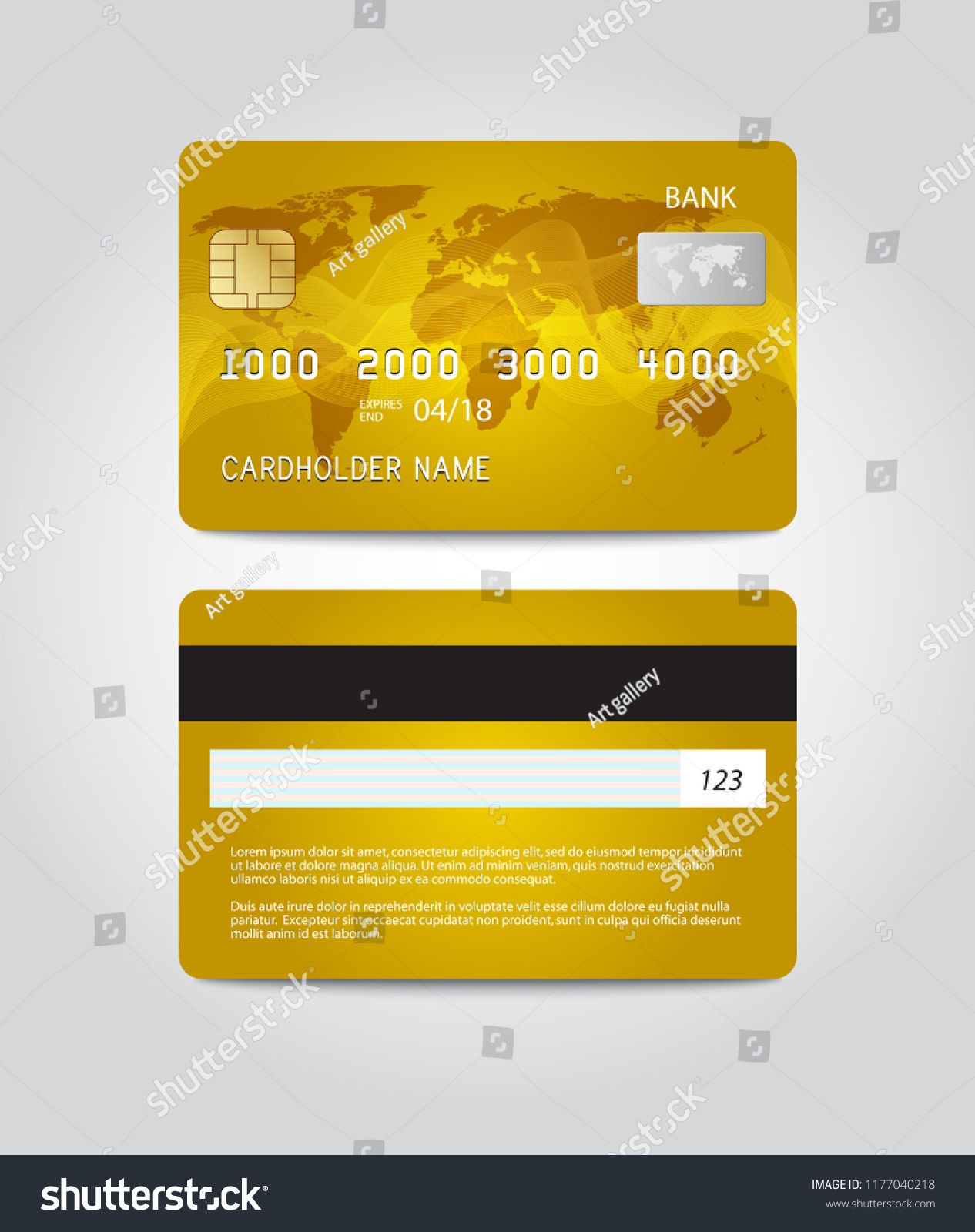 Credit card template design Two sides Vector template card