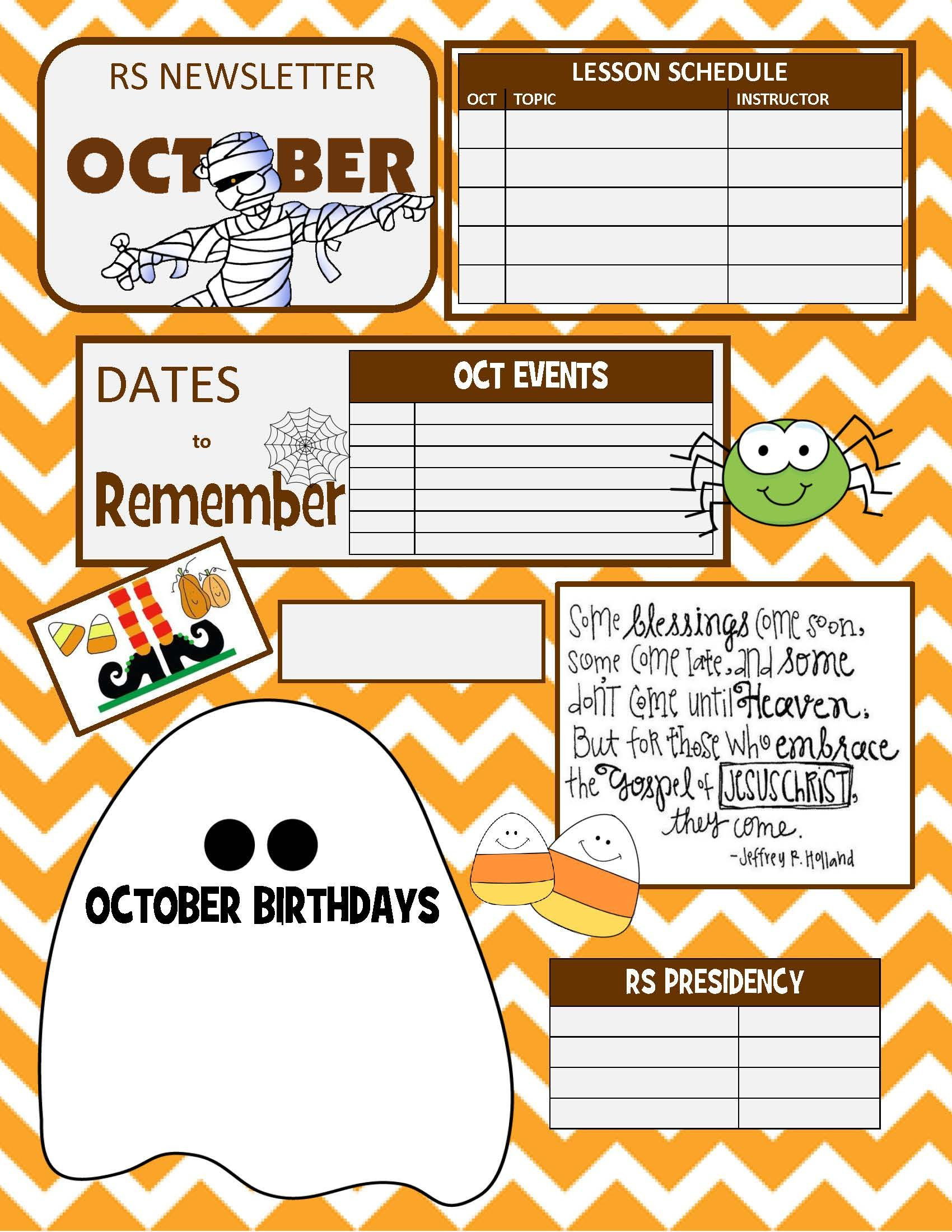 OCTOBER RELIEF SOCIETY NEWSLETTER TEMPLATE
