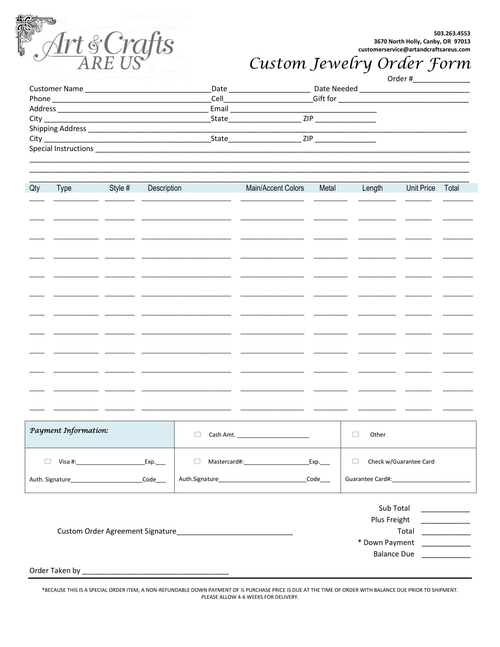 Custom order form Template