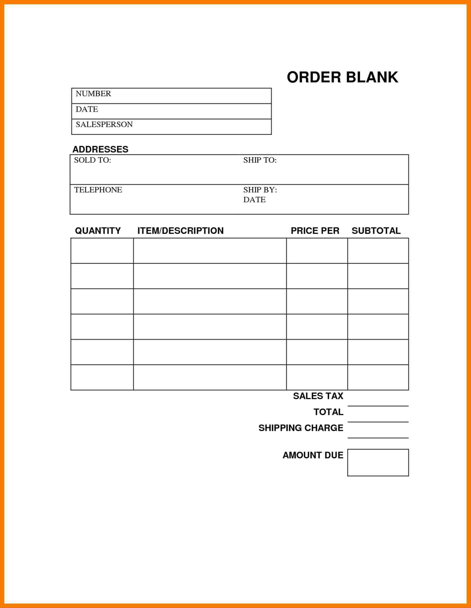 Custom order forms Template
