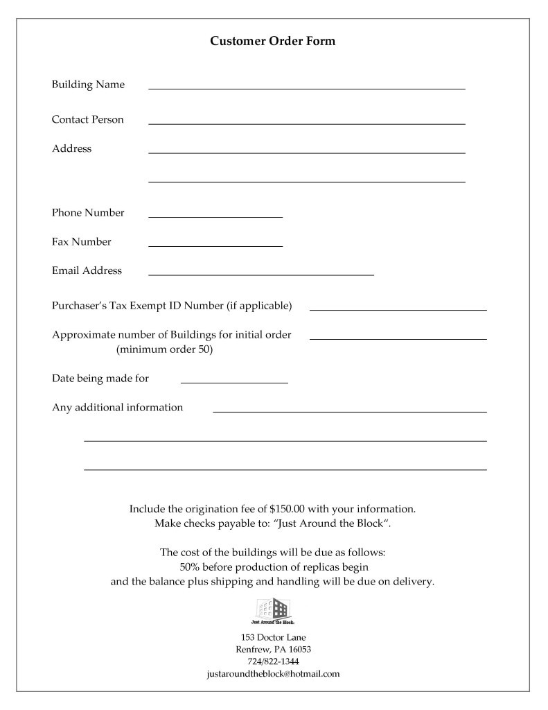 Customer Information form Template