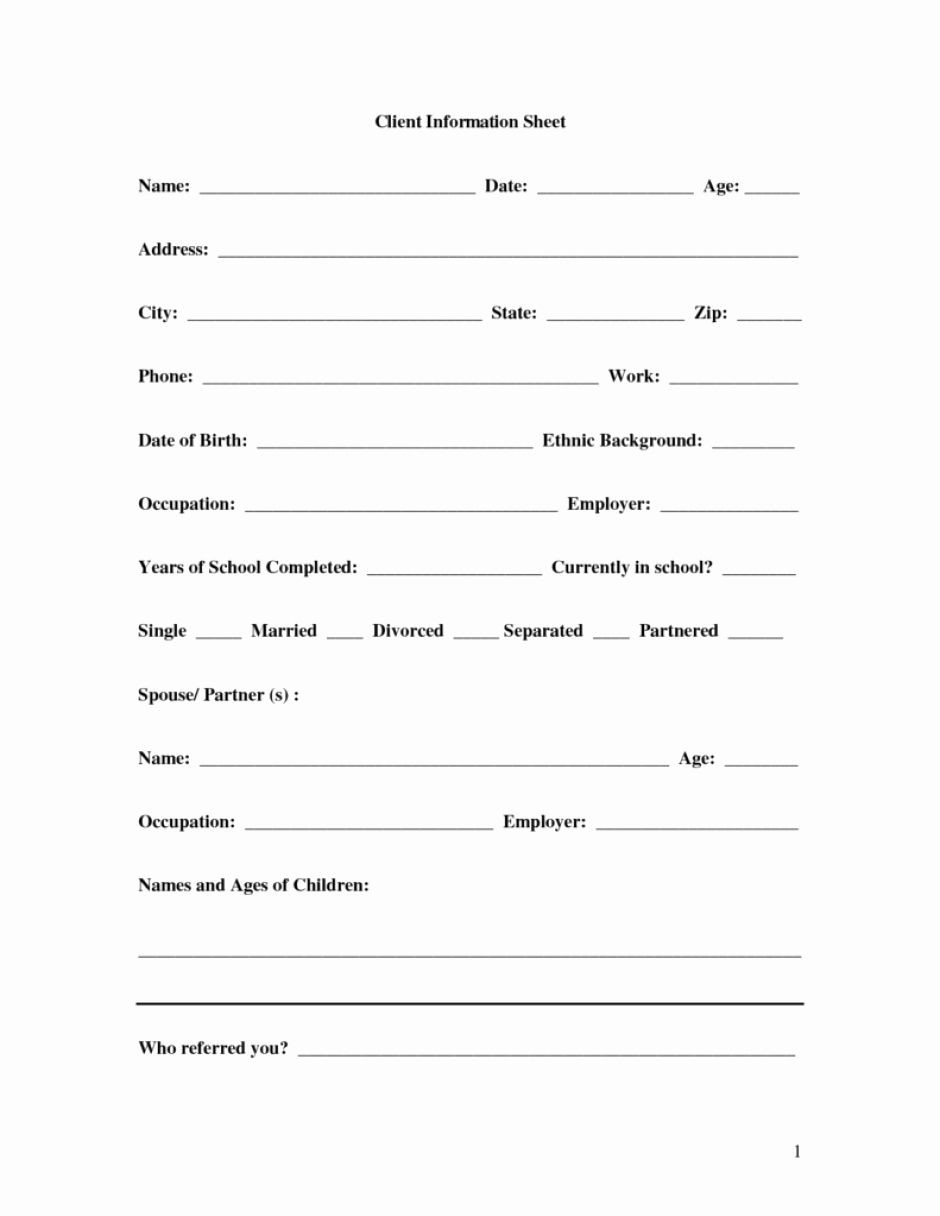 New Customer Information form Template in 2020