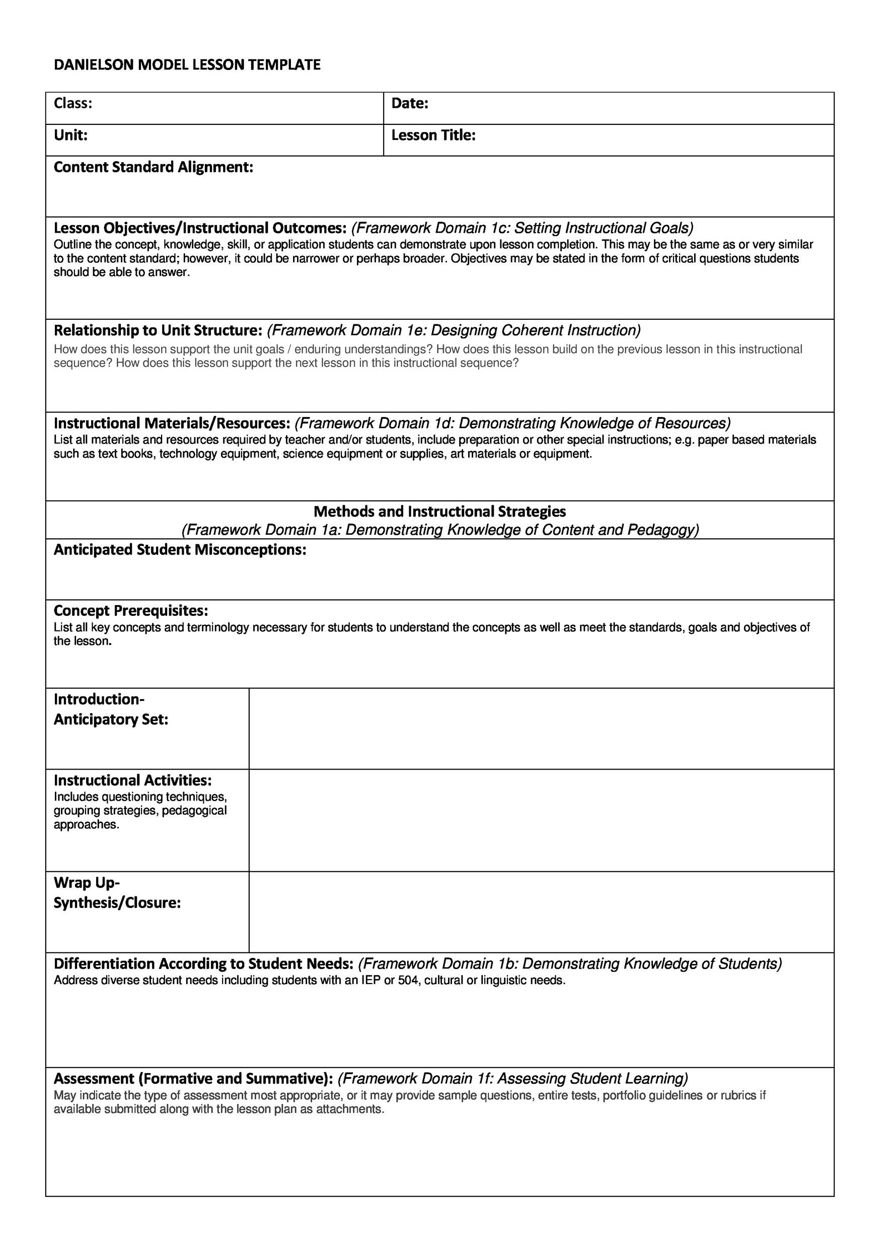Differentiated Lesson Plan Template