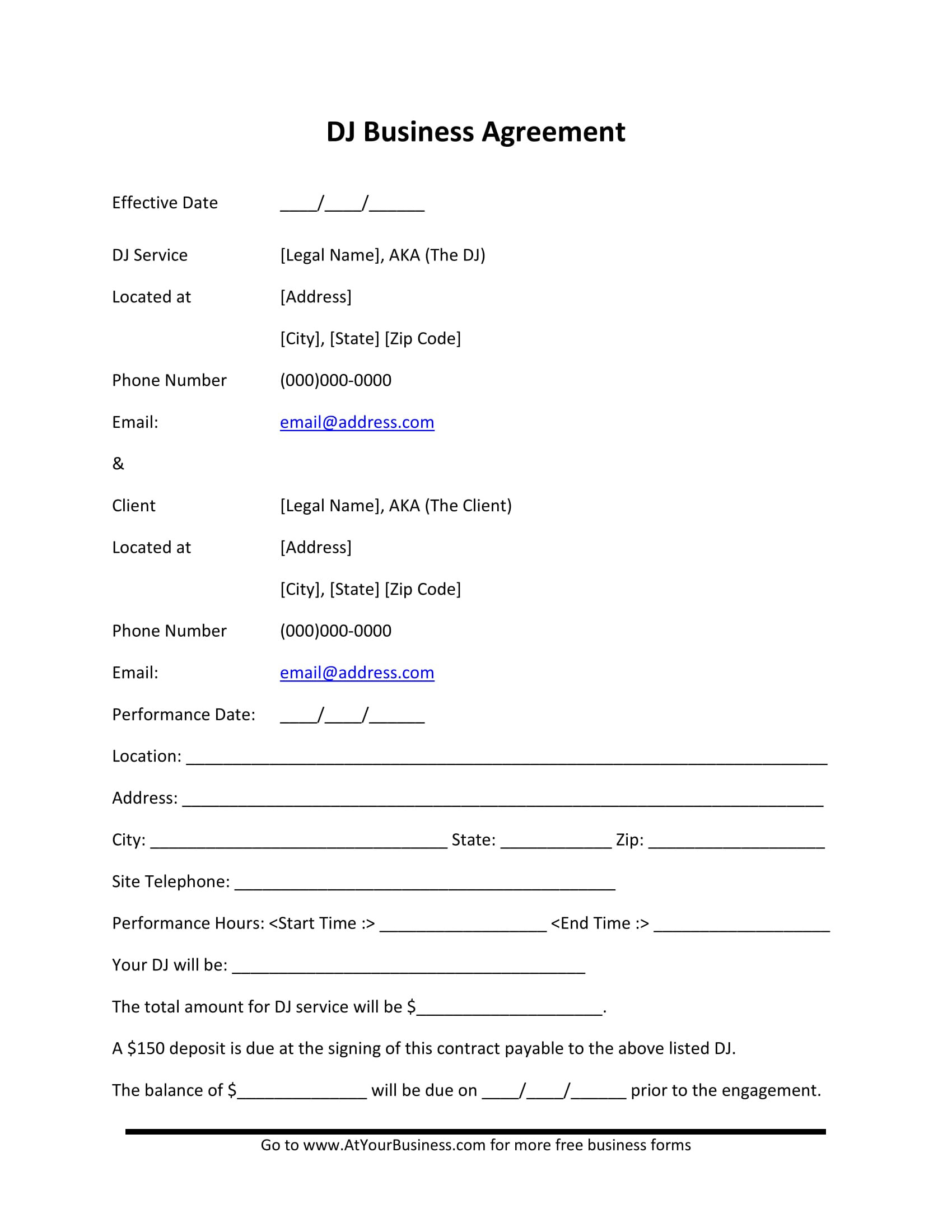 Disc Jockey Contracts Template