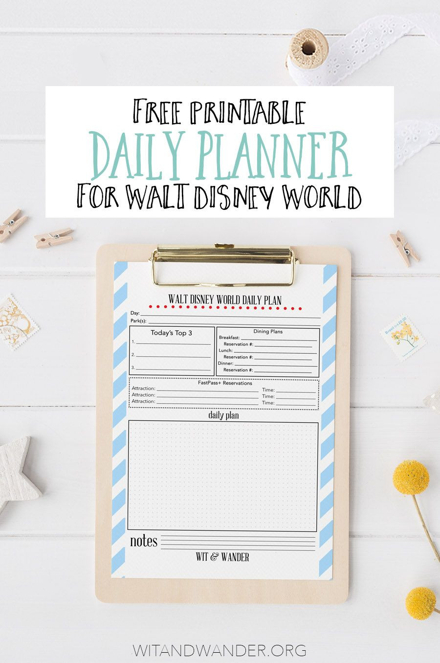 Disney World Itinerary Template