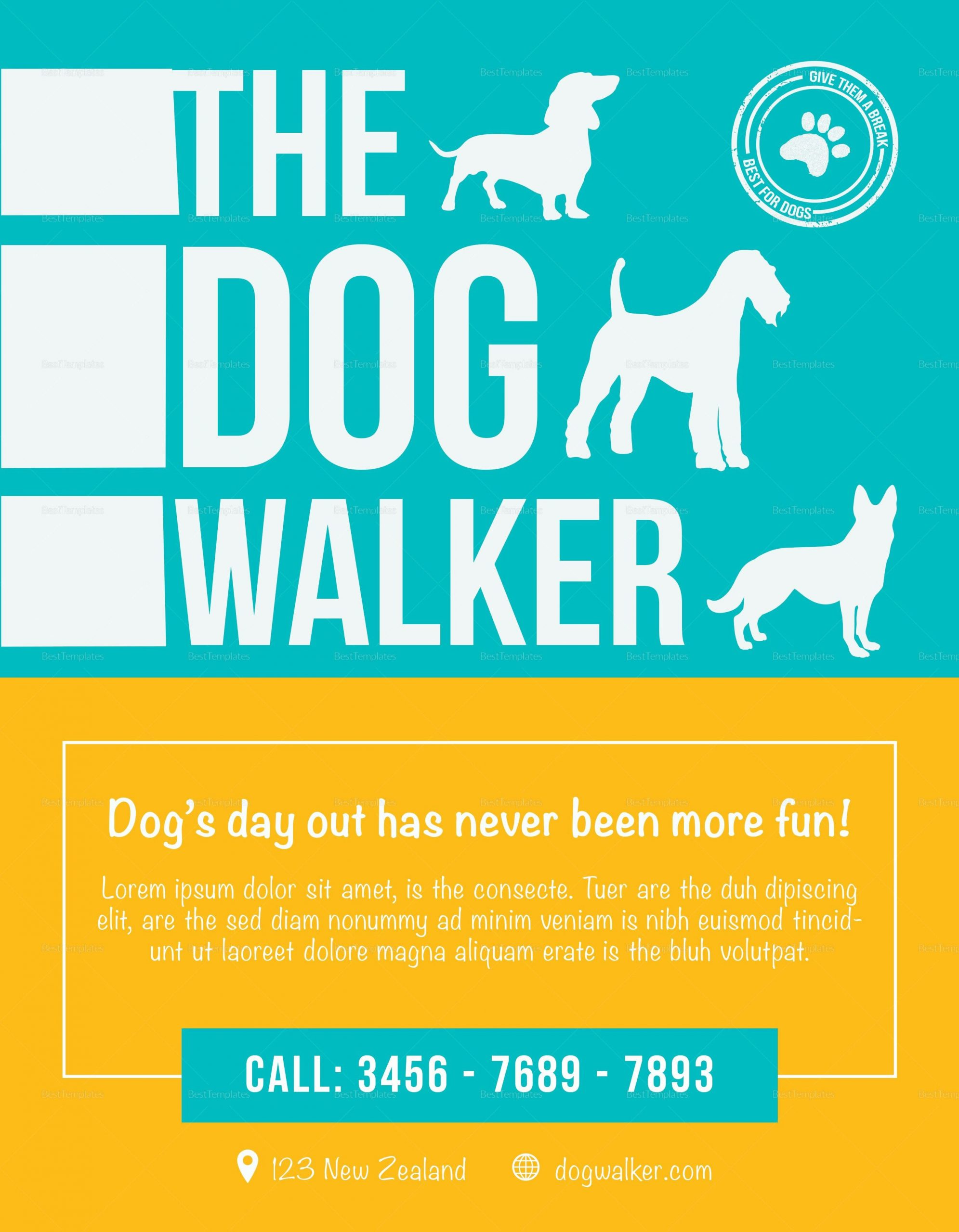50 Dog Walking Flyer Template in 2020