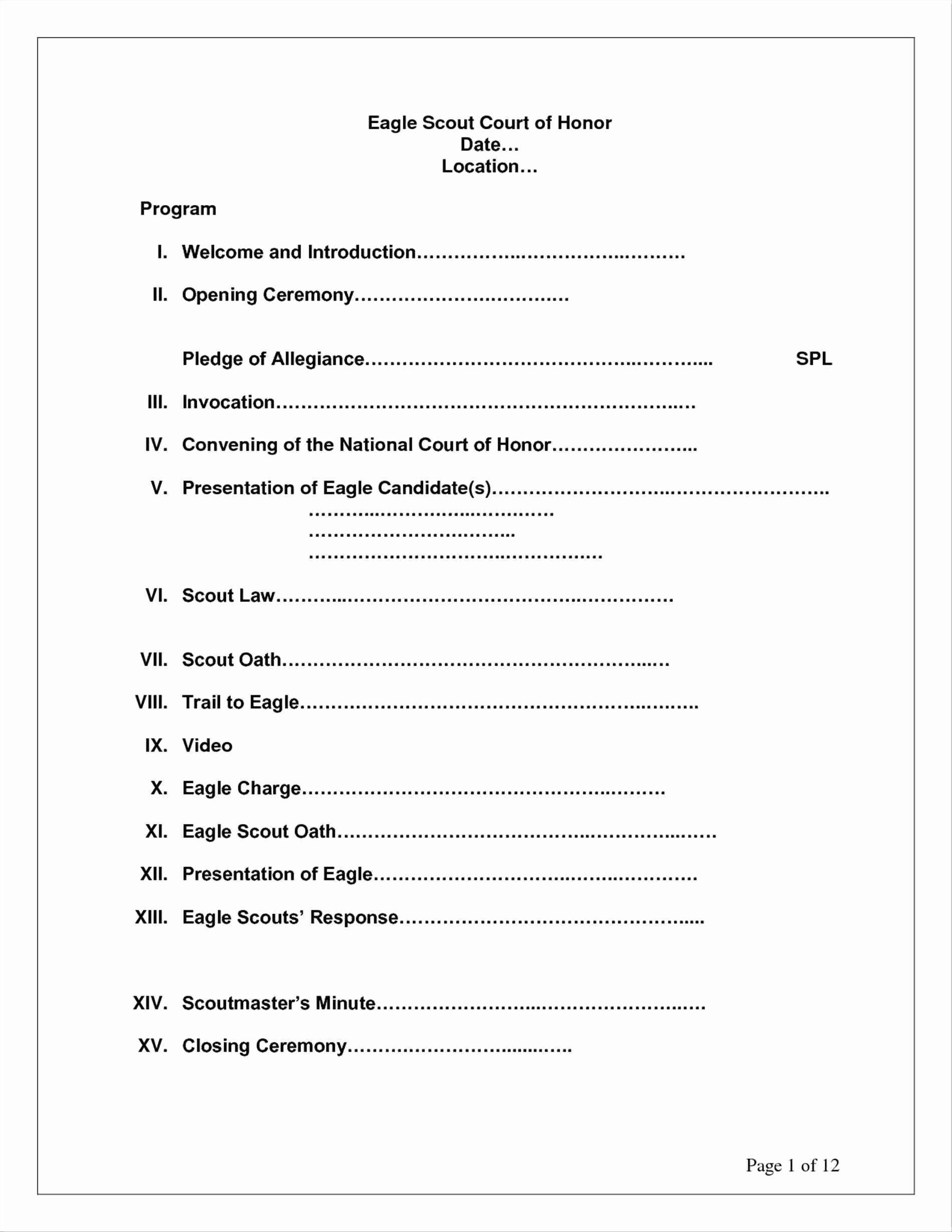 Awesome Eagle Scout Court Honor Program Template Eagle Scout