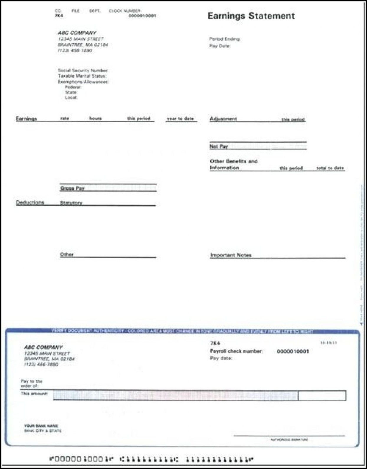 Editable Blank Check Template