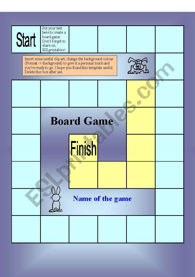 Editable Board Game Template