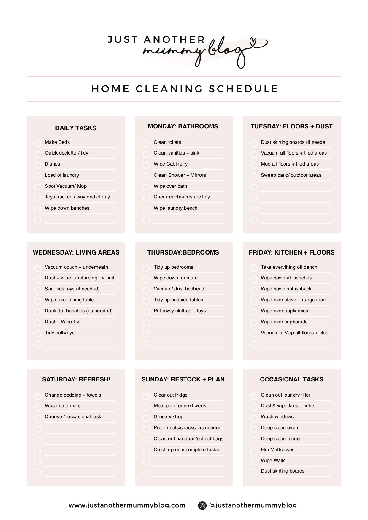 Editable Cleaning Schedule Template