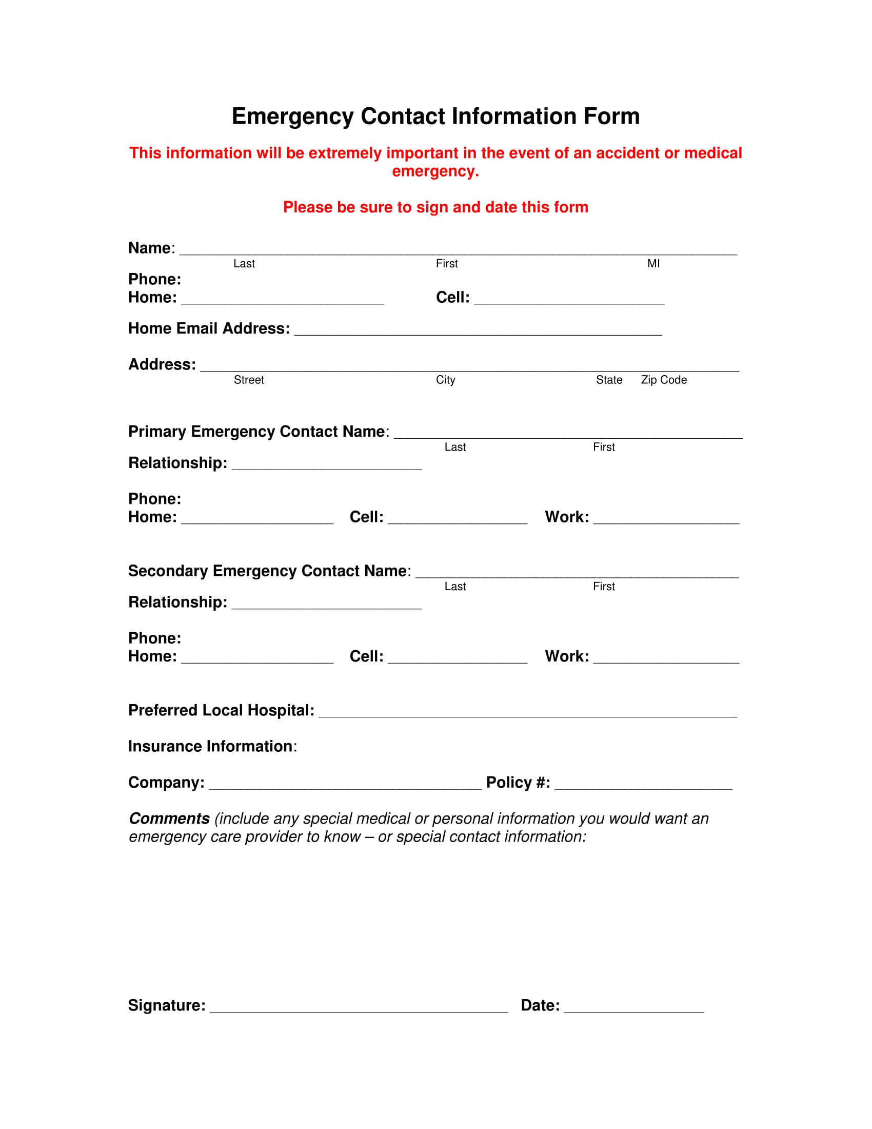 Emergency Contact form Template
