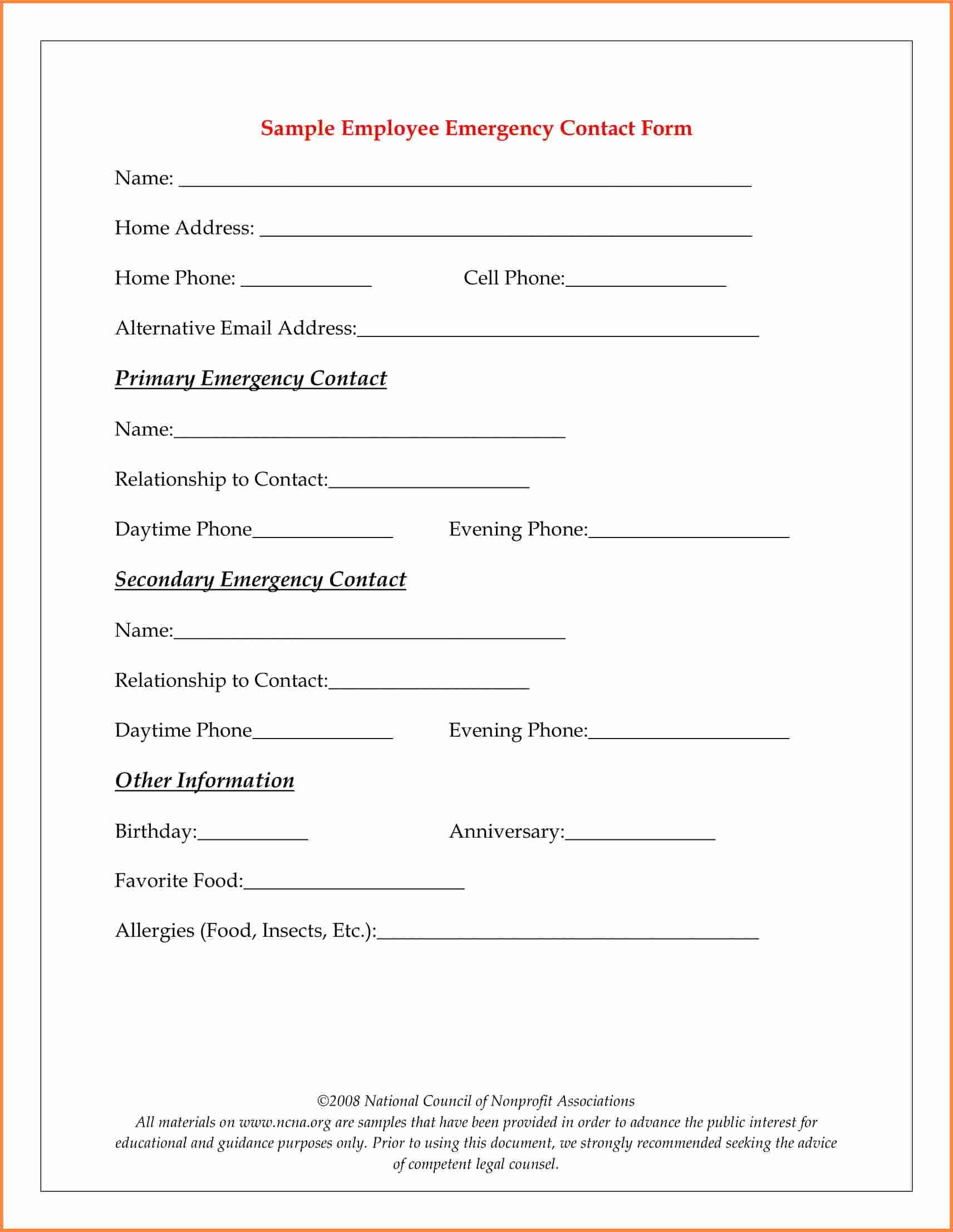 Emergency Contact form for Employers in 2020