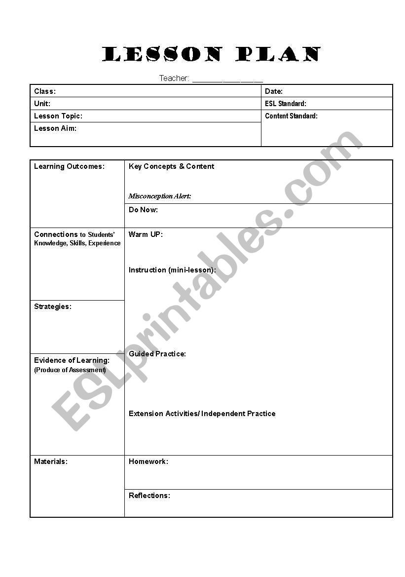 lesson plan template ESL worksheet by gracie88