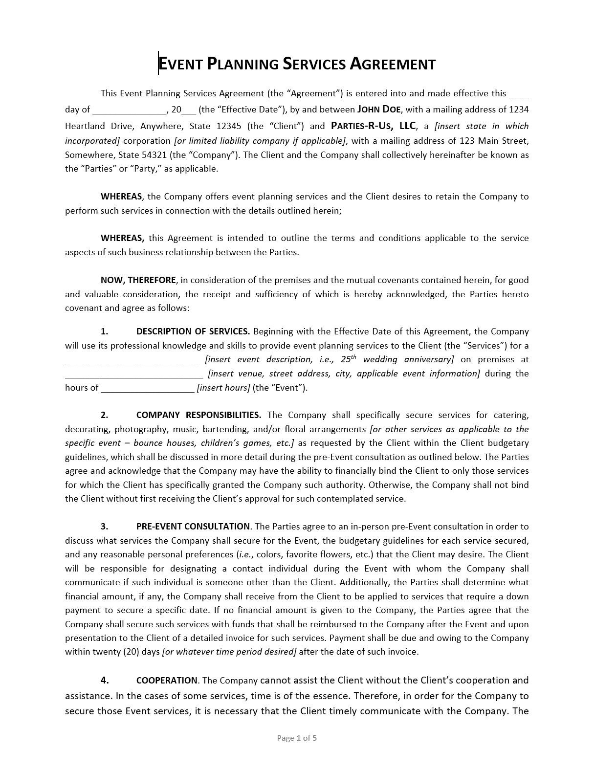 Event Planning Contract Template ApproveMe Free Contract