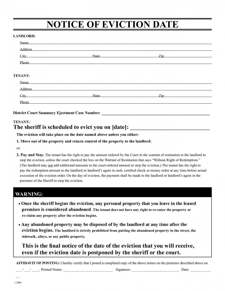 Eviction Notice Template Free