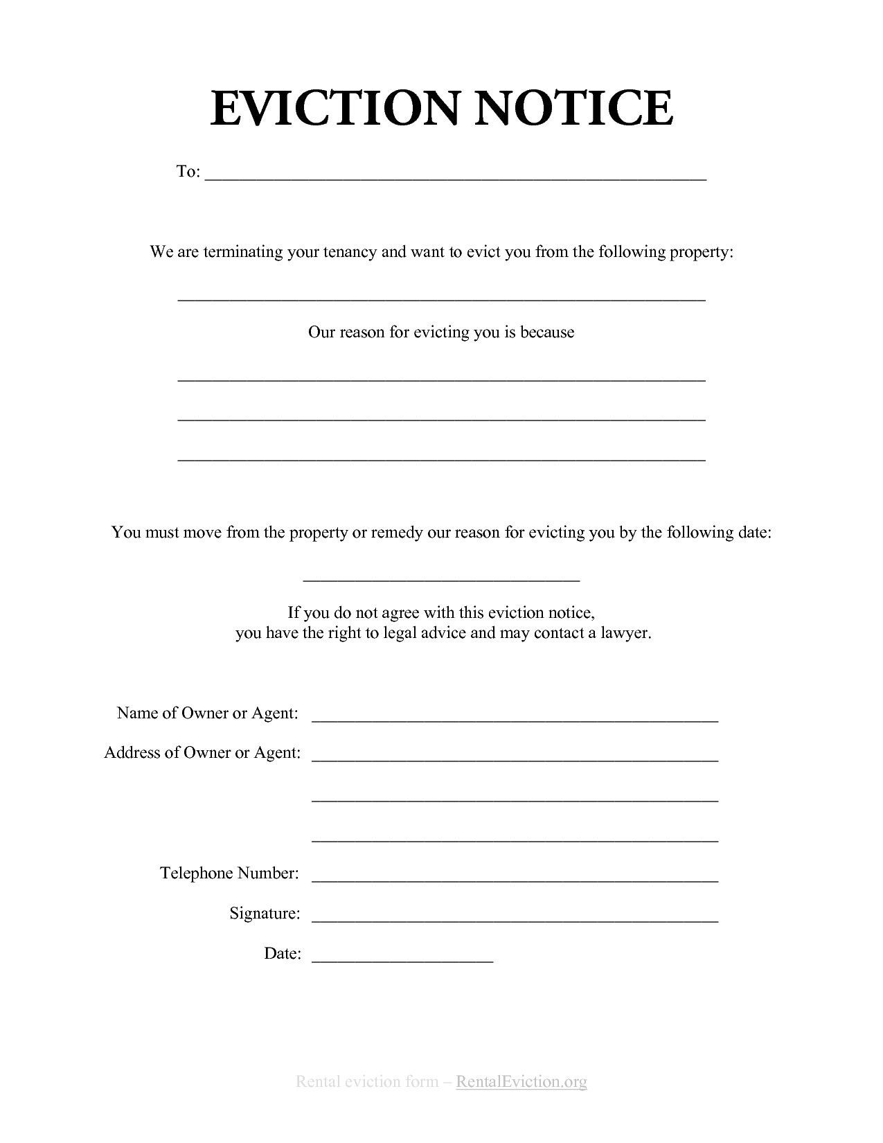 30 Free Printable Eviction Notice Template in 2020