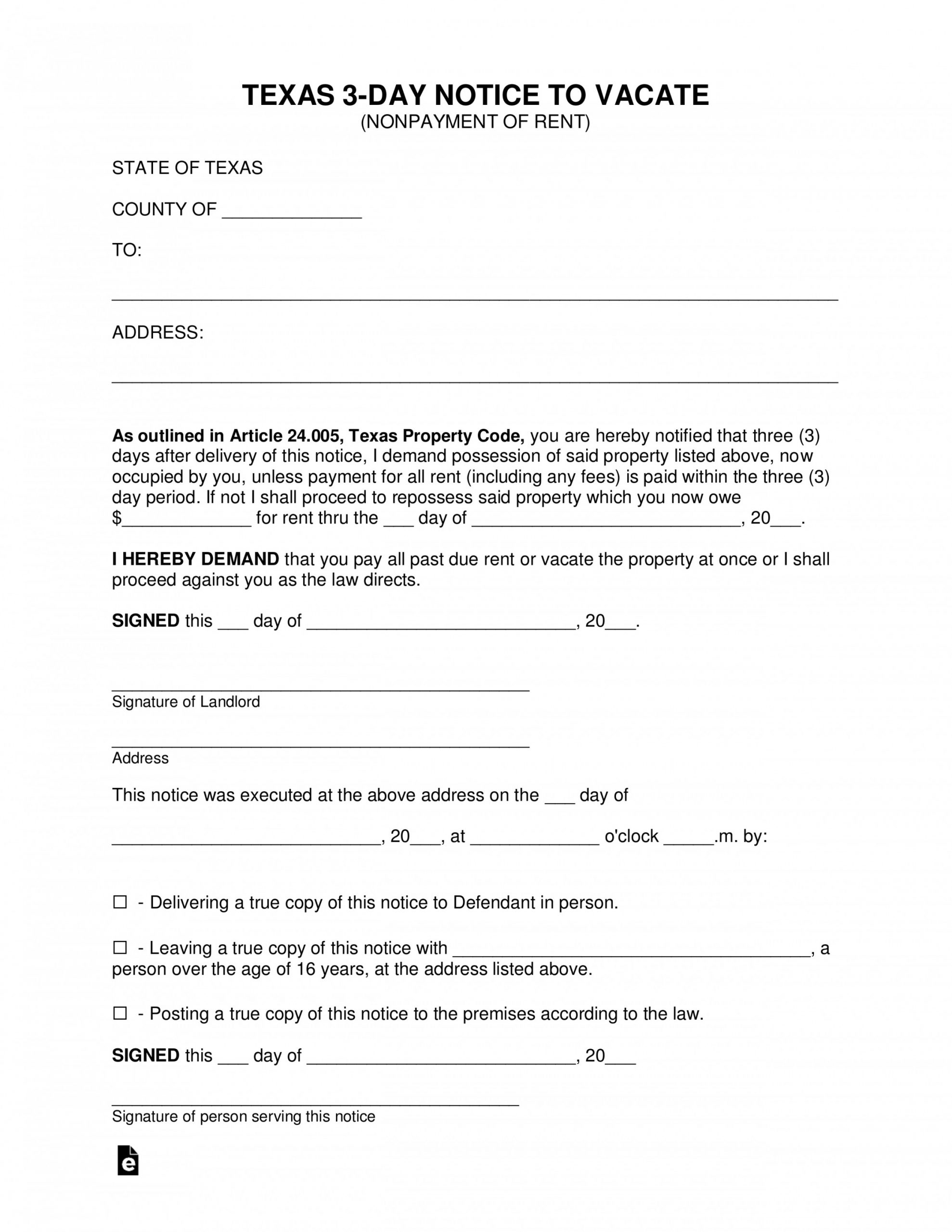 Eviction Notice Template Texas