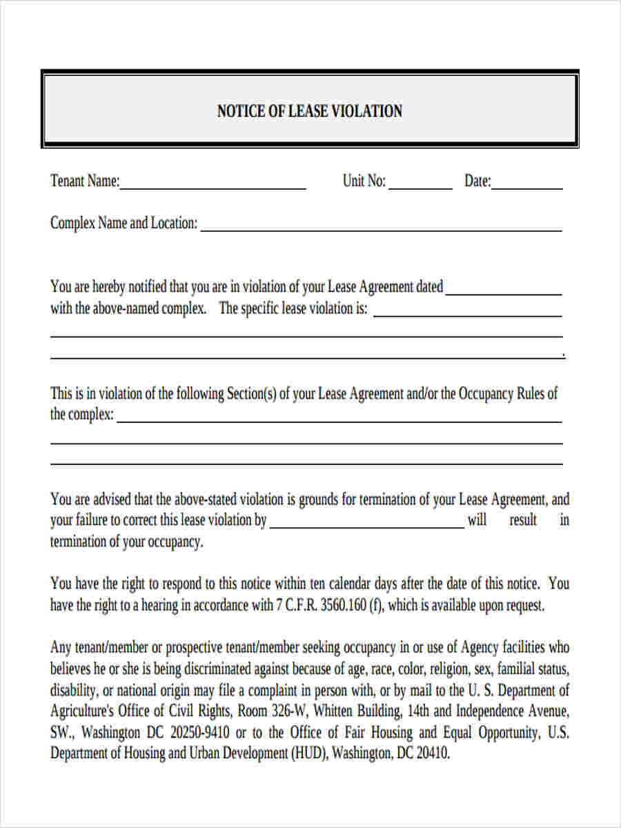 Eviction Notice Template Word