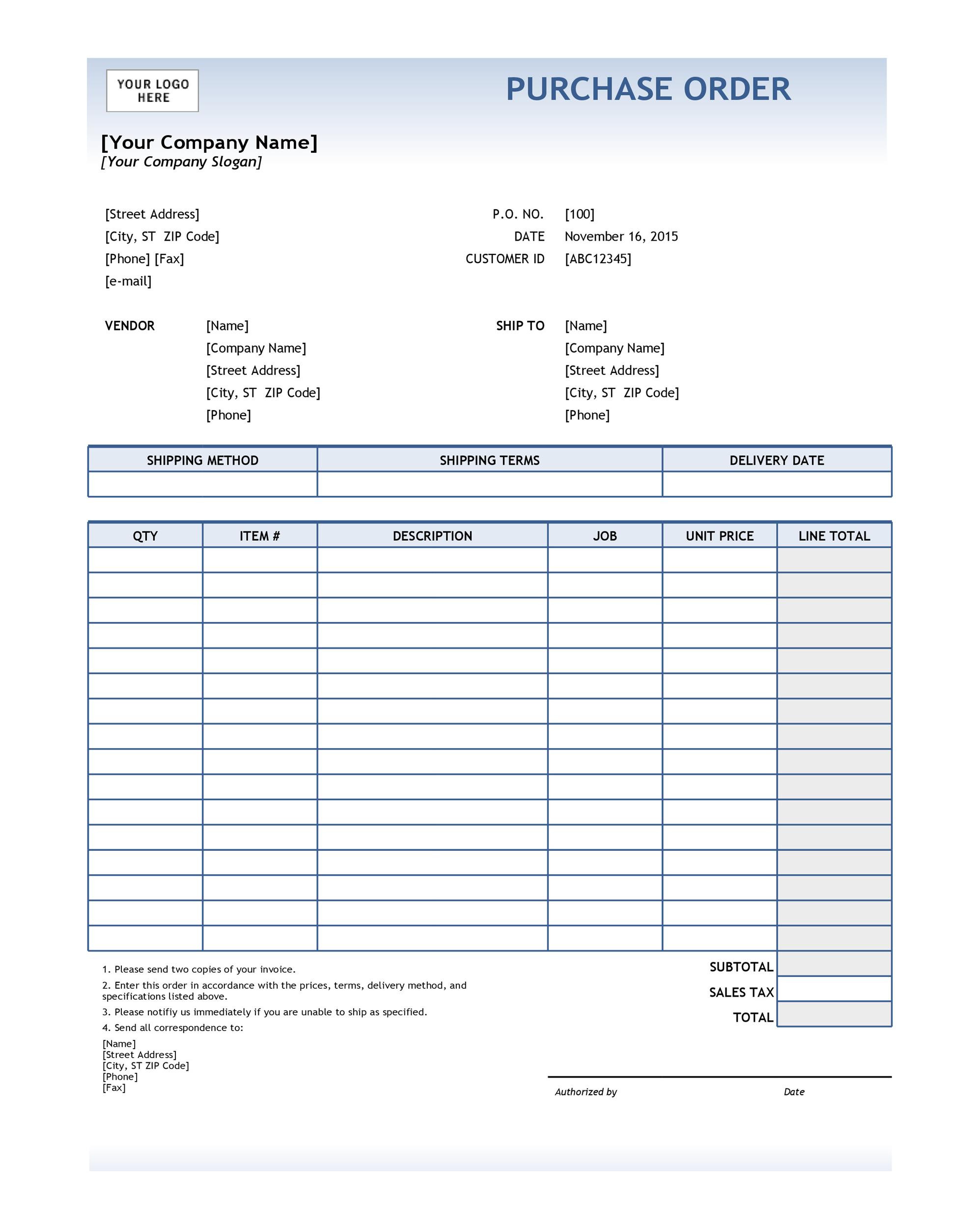 Excel Purchase order Template
