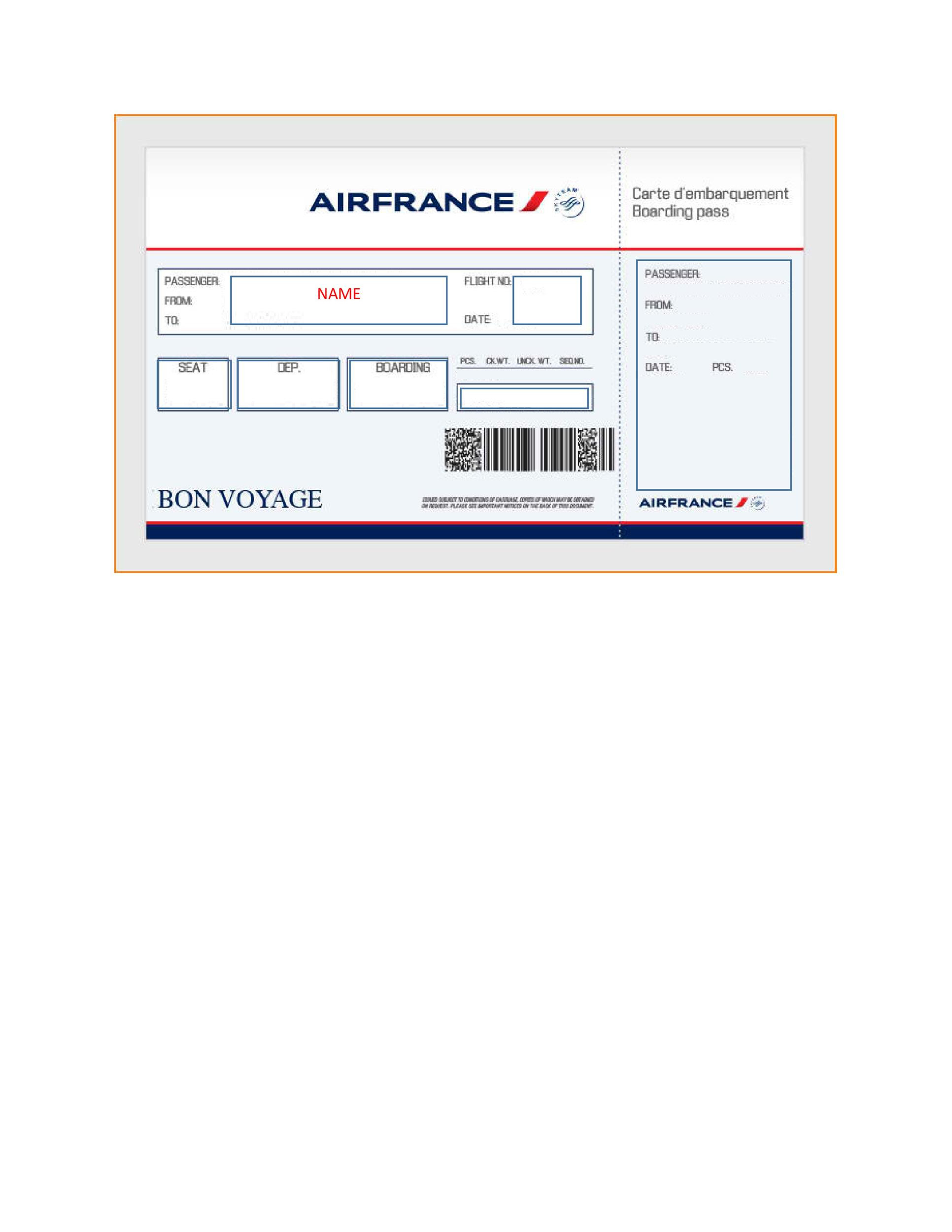 Fake Airline Ticket Template