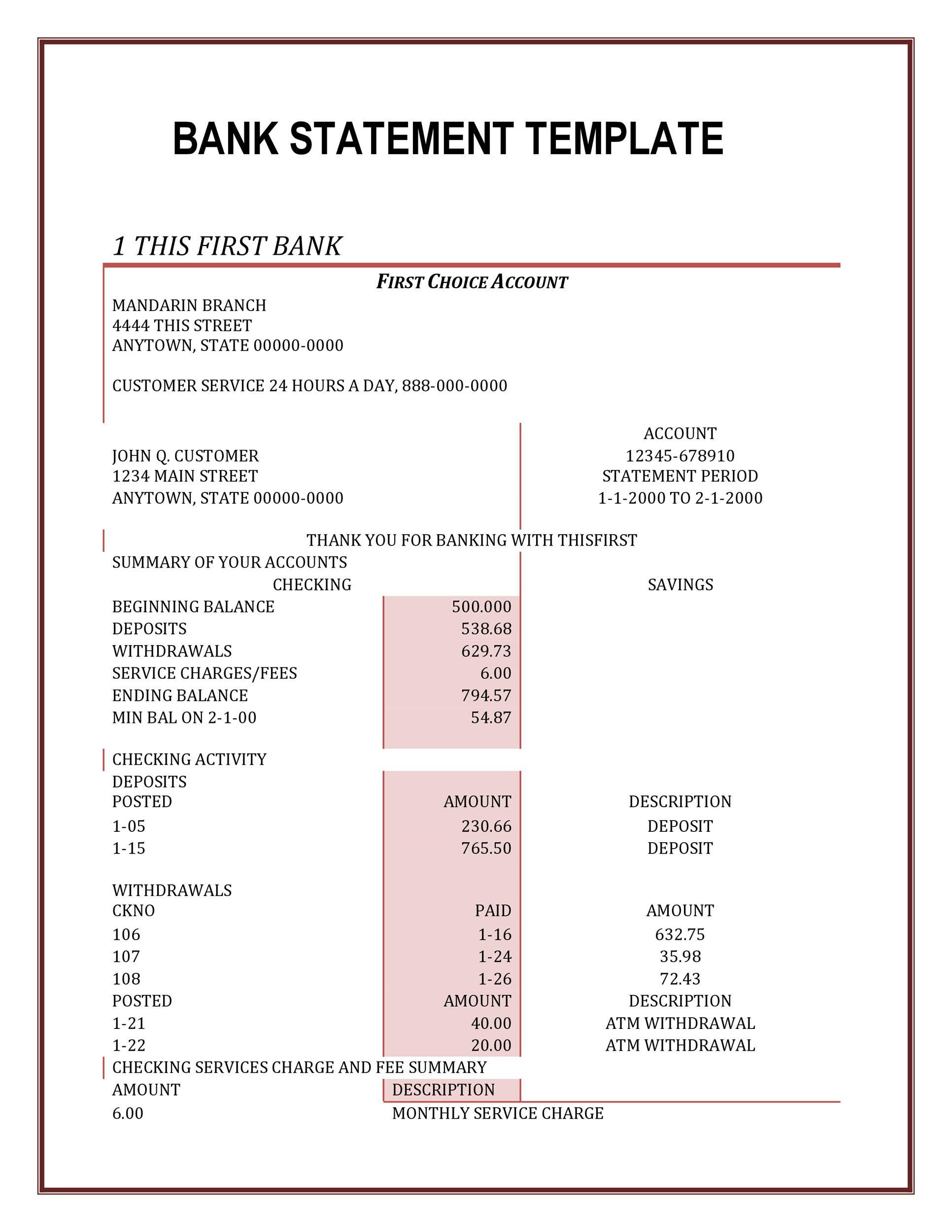 Fake Bank Statement Template
