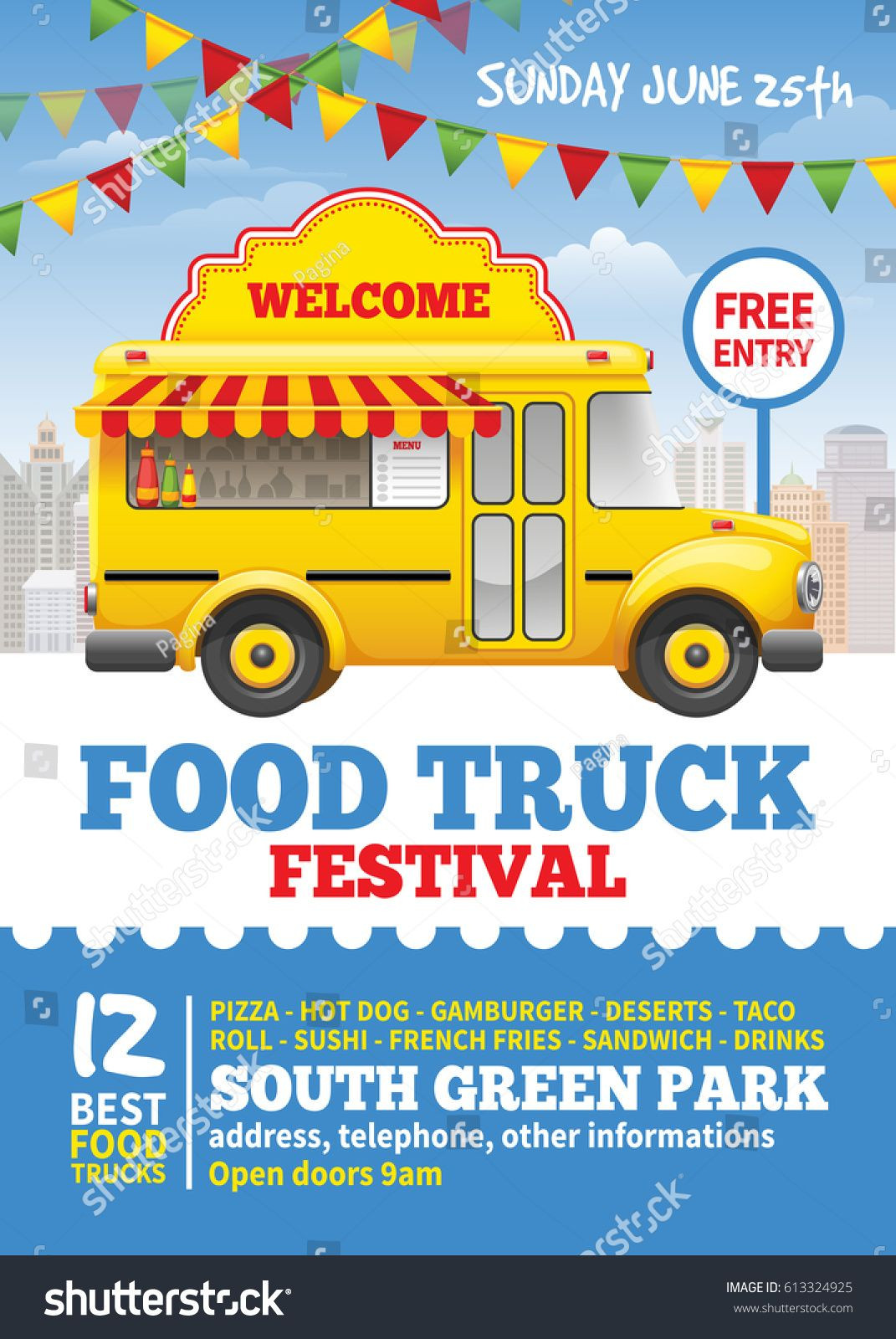 Food truck festival poster design template Cute vintage