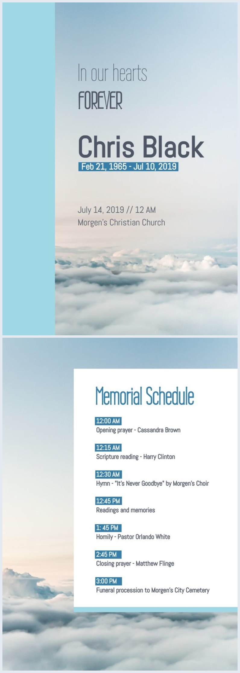 Free Funeral Program Template