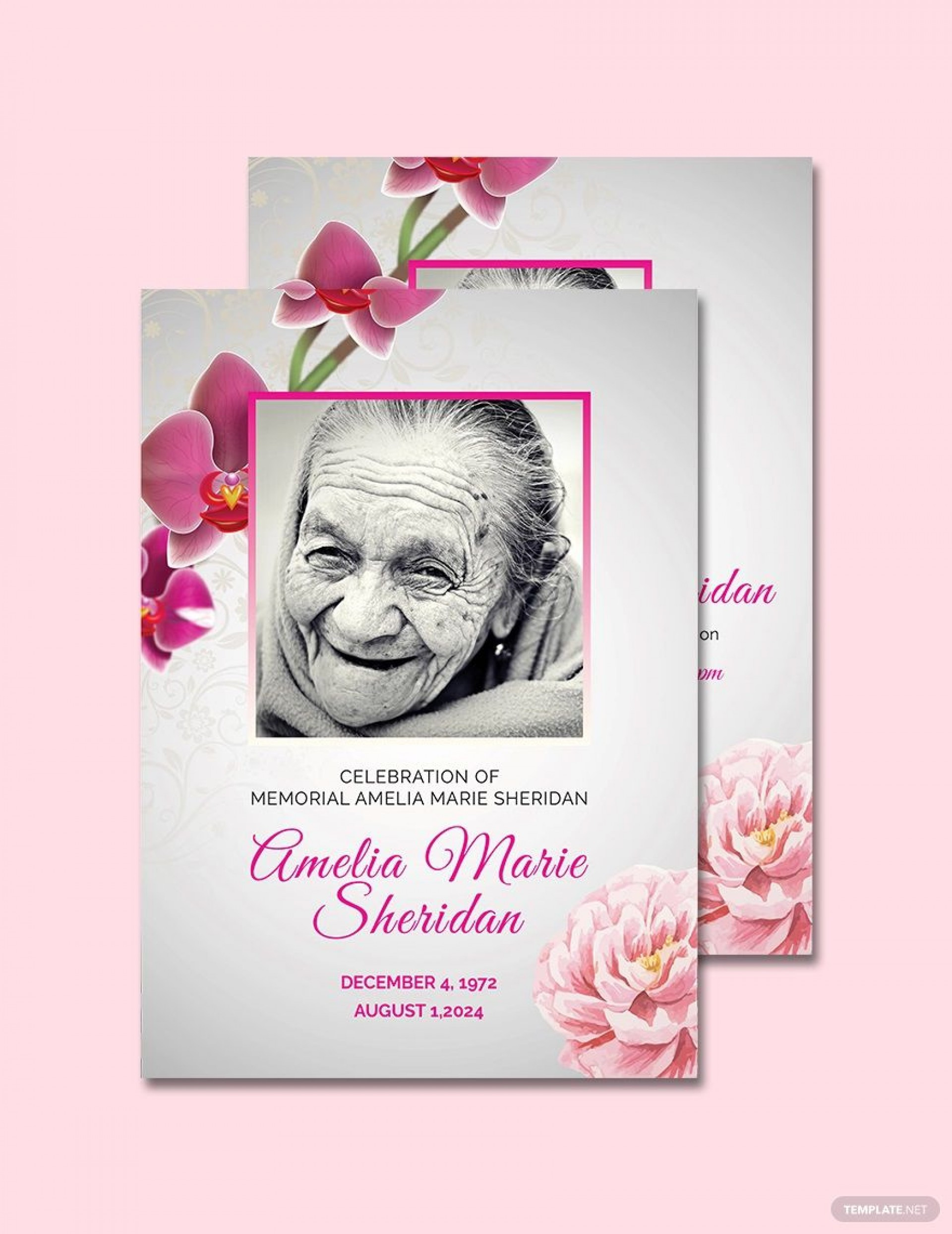 Free Memorial Card Template Addictionary