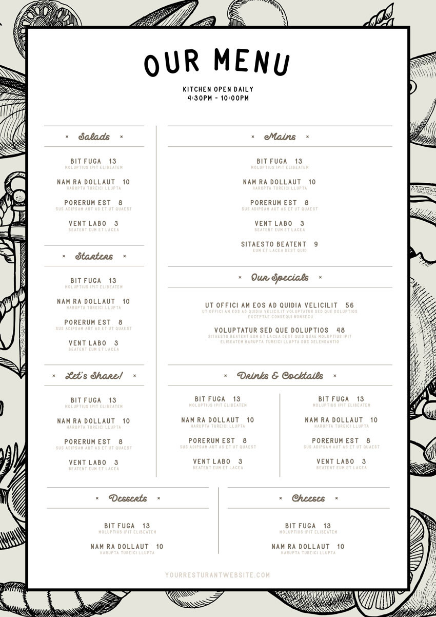 Free Printable Menu Template