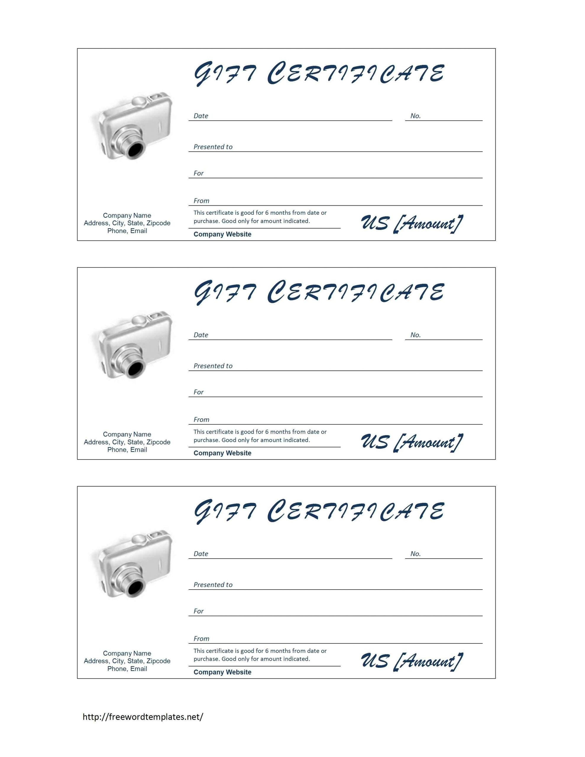 Gift Certificate Template Pages