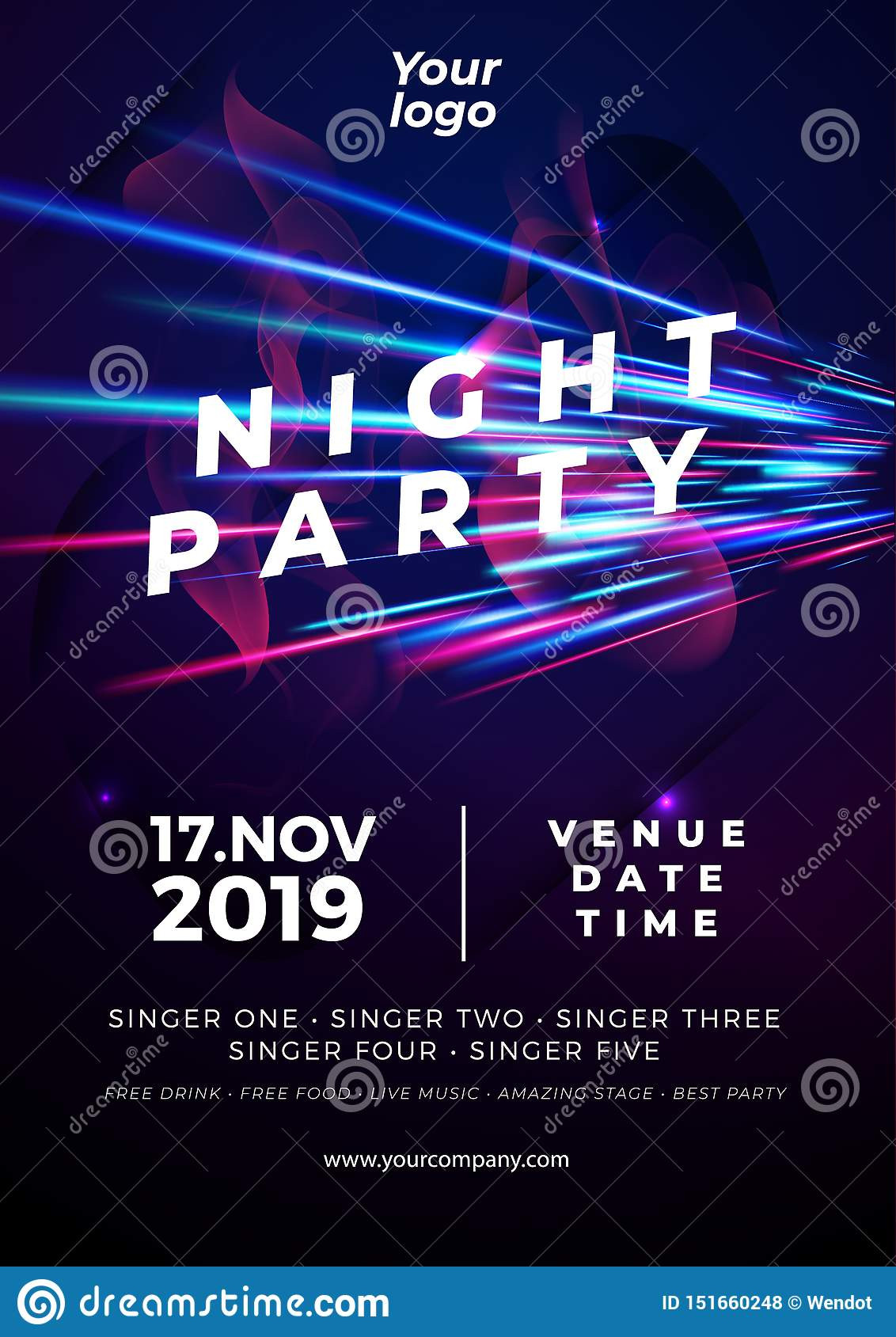 Glow Party Invitation Template