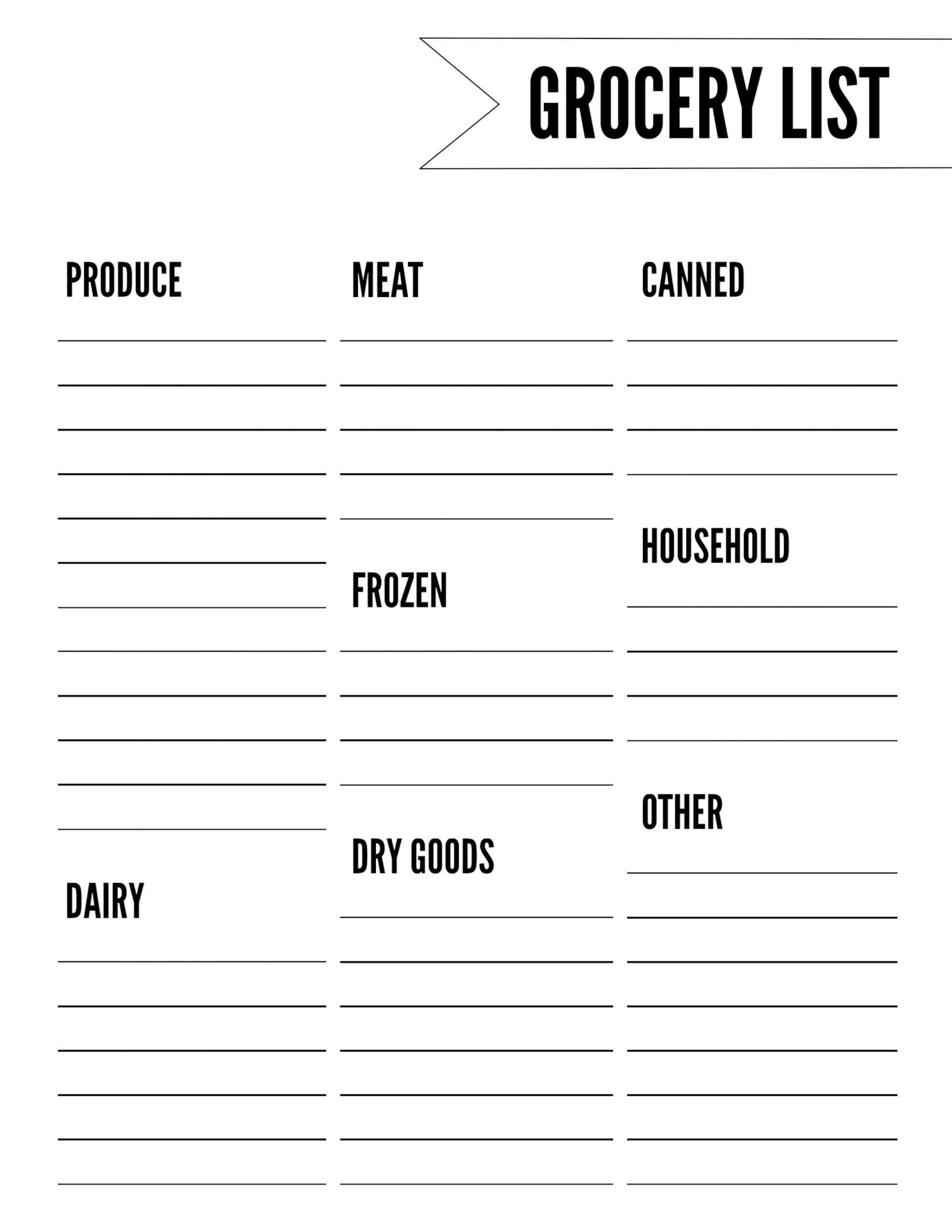 Grocery List Template Free