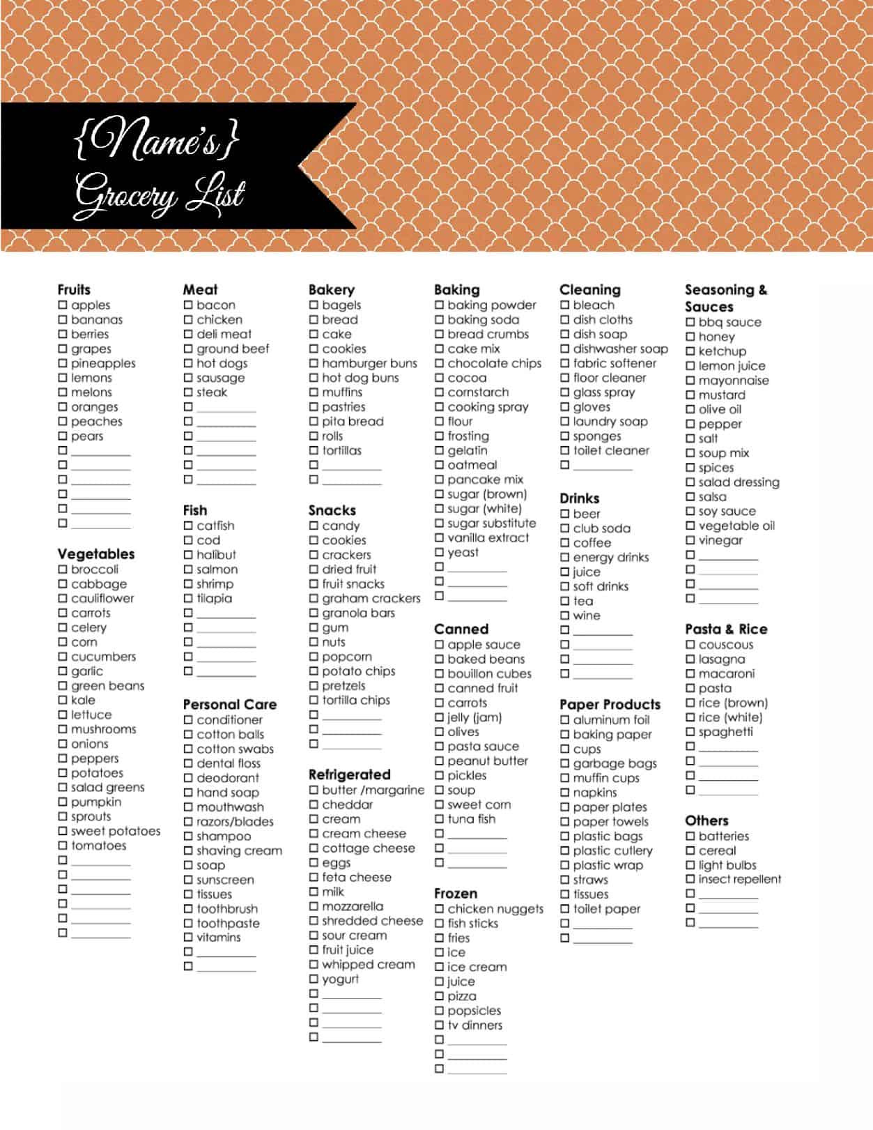 Grocery Shopping List Template