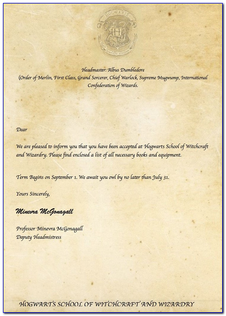 Harry Potter Envelope Template