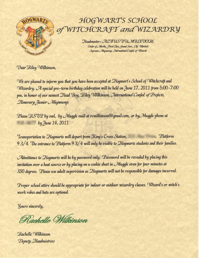 Harry Potter Letter Template