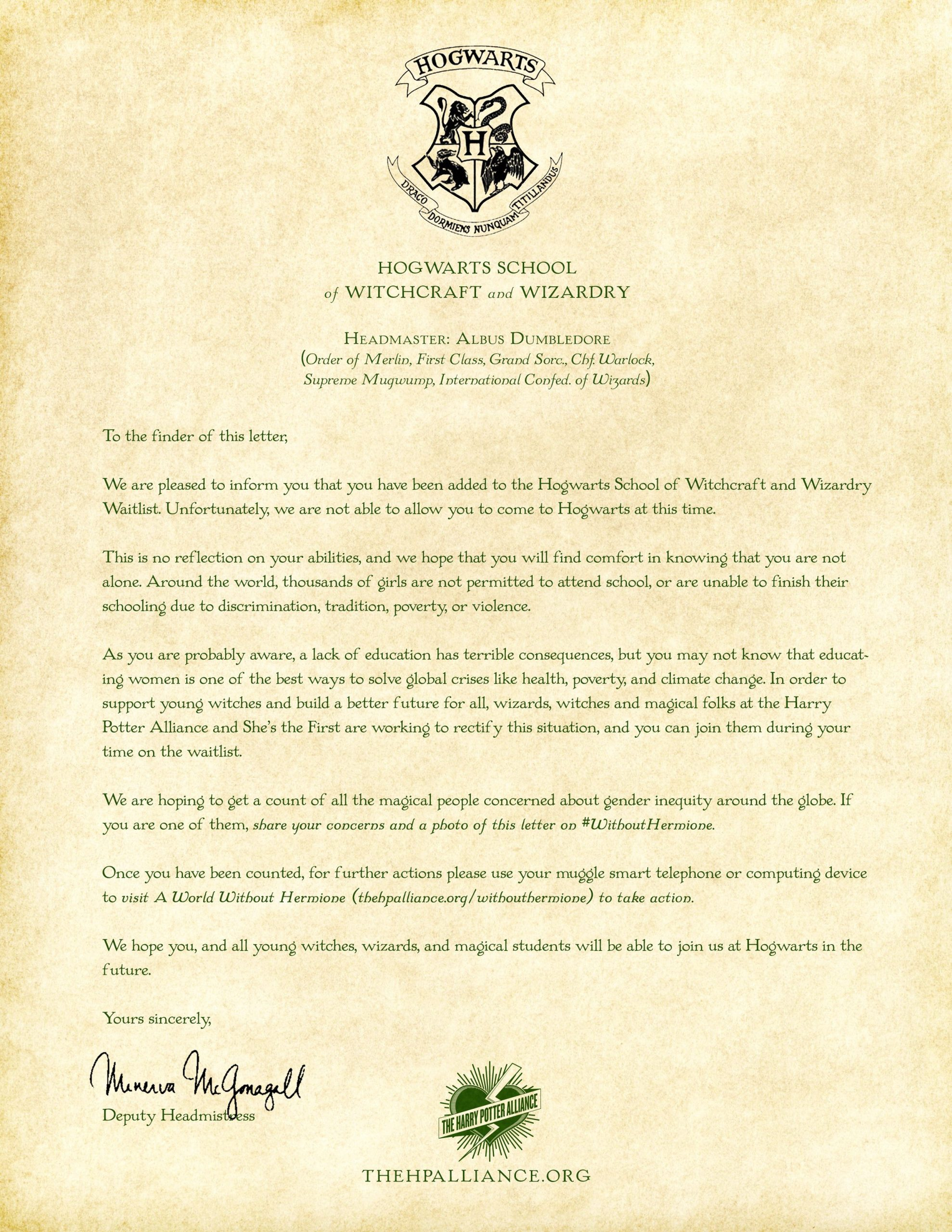 This depressing Hogwarts acceptance letter is going viral
